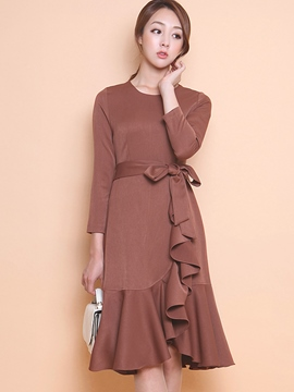 Ericdress Plain Round Neck Falbala Patchwork Casual Dress