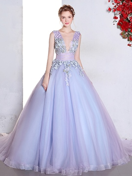 Ericdress Charming Ball Gown Appliques Lace Pearls Sweep Train Quinceanera Dress