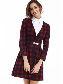 Ericdress Lapel Tank Top Plaid Day Dress Suit