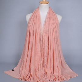 Ericdress Lace Patchwork Pure Color Cotton Scarf