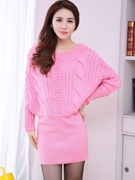 Ericdress Weave Knitting Batwing Sleeve Round Collar Sweater Dress
