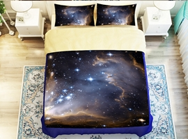 Dreamlike Galaxy Printed 4-Piece Polyester Duvet Cover Sets