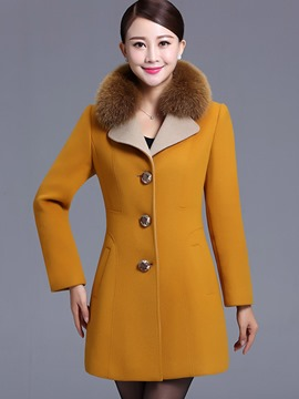 Ericdress Color Block Slim Single-Breasted Coat