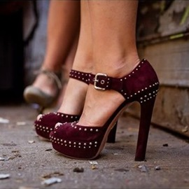 Ericdress Burgundy Platform Rivets Chunky Sandals