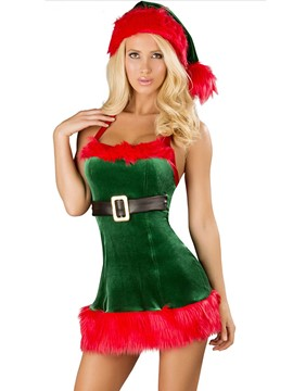 Ericdress Color Block Patchwork Halter Christmas Costume