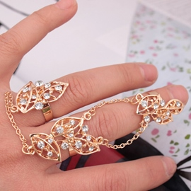 Ericdress Three Pieces Hollow-Out Leaves Alloy Ring