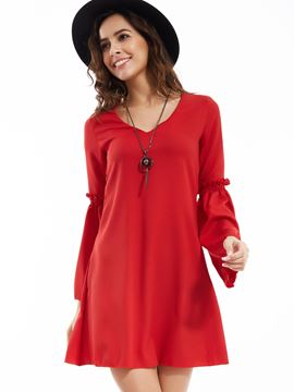 Ericdress V-Neck Flare Sleeves Patchwork Casual Dress