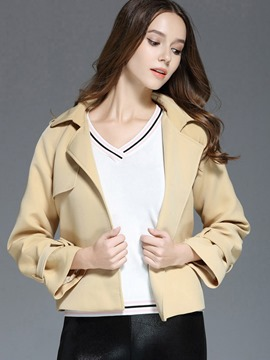 Ericdress Solid Color Slim Belt Jacket