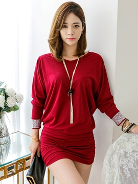 Ericdress Korean Diamond Appliques Batwing Sleeve Sheath Dress