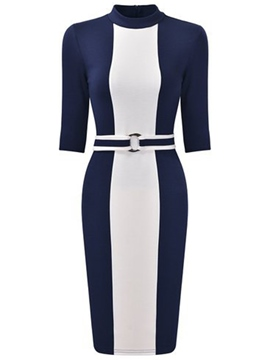 Ericdress Color Block Stand Collar Belt Half Sleeve Sheath Dress