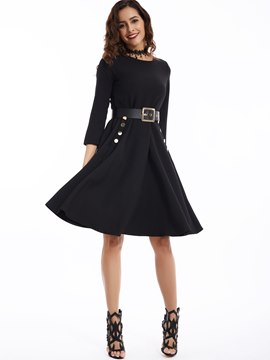 Ericdress Round Neck Belt-Included A-Line Casual Dress