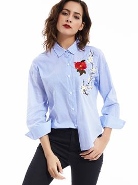 Ericdress Lapel Flower Embroideried Striped Blouse