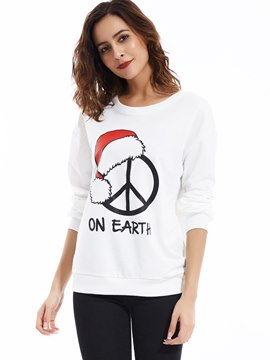 Ericdress Round Neck Christmas Printed Hoodie
