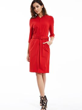 Ericdress Stand Collar Belt Included Casual Dress