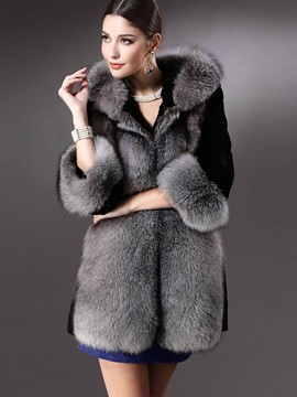 Ericdress Loose Color Block Faux Fur Patchwork Elegant Coat