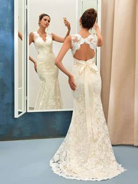 Ericdress Sashes Backless Lace Mermaid Wedding Dress