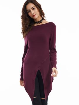 Ericdress Slim Plain Asymmetric Slash T-shirt