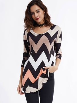 Ericdress Casual Round Neck Geometric Pattern T-shirt