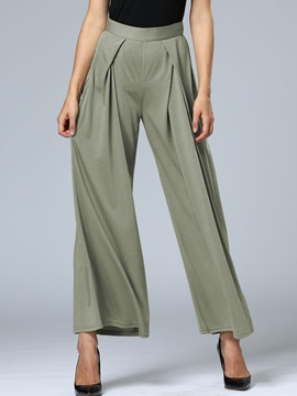 Ericdress Pleated Elastics Loose Wide Legs Pants