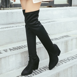 Ericdress Suede Point Toe Knee High Boots