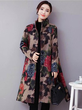 Ericdress Loose Stand Collar Printed Trench Coat