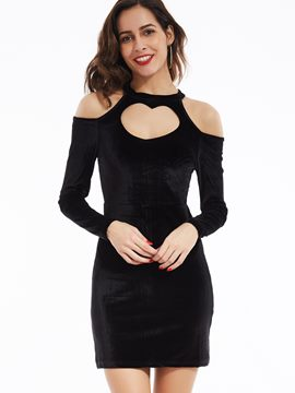 Ericdress Plain Cold Shoulder A-Line Bodycon Dress
