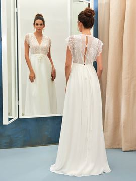 Ericdress Cap Sleeve Beading Lace Wedding Dress