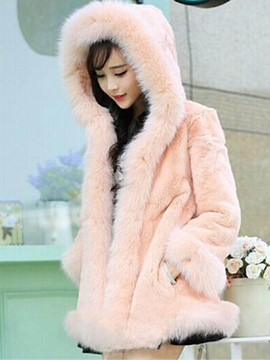 Ericdress Loose Solid Color Faux Fur Patchwork Coat