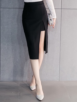 Ericdress Solid Color Asymmetric Patchwork Skirt