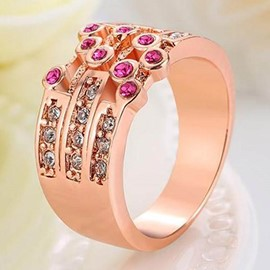 Ericdress Rose Gold Plated Rhinestone Ring