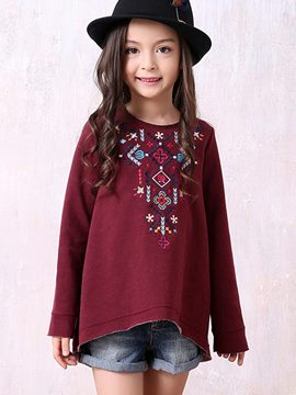 Ericdress Ethnic Pattern Loose Long Sleeve Girls T-Shirt