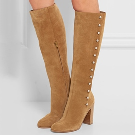 Ericdress Round Toe Chunky Heel Rivets Knee High Boots
