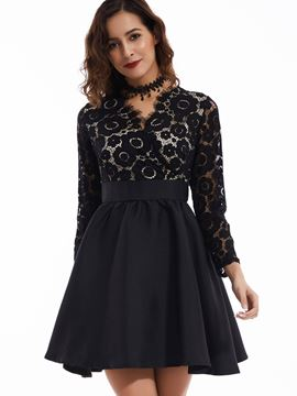 Ericdress V-Neck High-Waist See-Through Pleated Lace Dress