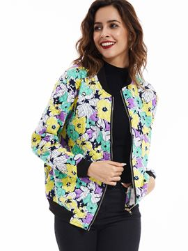 Ericdress Stand Collar Flower Printed Jacket