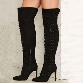 Ericdress Awesome Black Lace Up Point Toe Knee High Boots