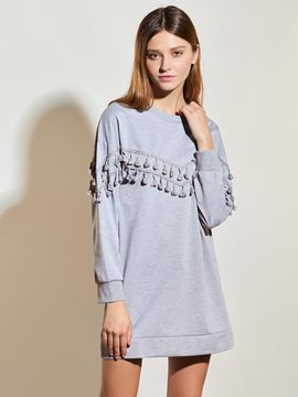 Ericdress Gray Fringe Mid-Length T-Shirt