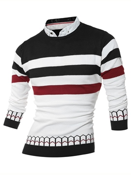 Ericdress Stripe Shirt Collar Double-Layer Design Men's Sweater