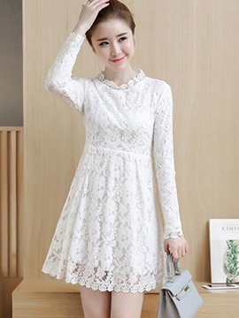 Ericdress Falbala Patchwork Round Collar High-Waist Above Knee Lace Dress