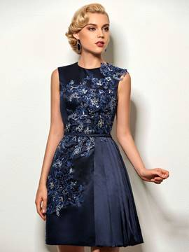 Ericdress A-Line Jewel Neck Appliques Sequins Short Cocktail Dress