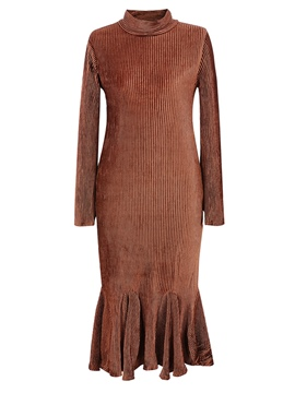 Ericdress Pleated Turtleneck Mermaid Maxi Dress