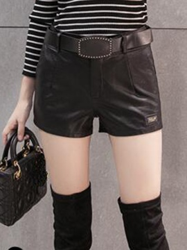 Ericdress High-Waist PU Shorts Pants