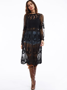 Ericdress Round Neck Flare Sleeves See-Through Lace Dress