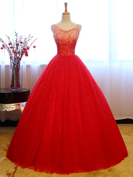 b839d7b11c Ericdress Stunning V Neck Beaded Sequin Tulle Ball Quinceanera Dress