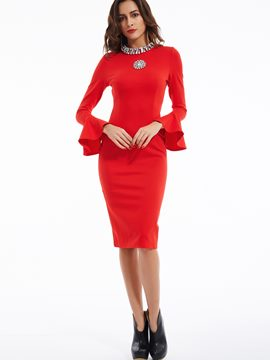 Ericdress Ruffle Sleeves Rhinestone Sheath Dress
