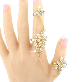 Ericdress Golden Shining Flowers Diamante Ring