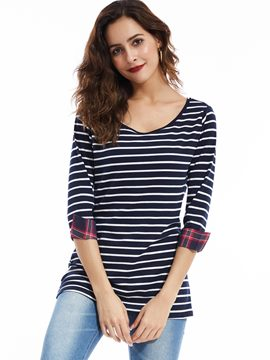 Ericdress Casual Round Neck Striped T-shirt