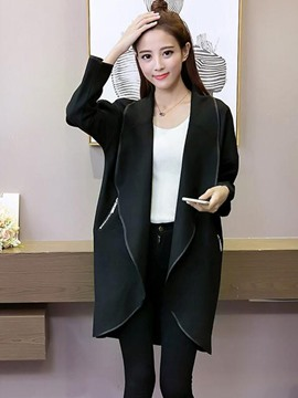 Ericdress Loose Turn-Down Solid Color Trench Coat