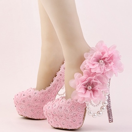 Ericdress Pink 3D Lace Appliques Wedding Shoes