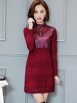 Ericdress PU Patchwork Stand Collar Falbala Mesh Lace Dress