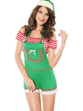 Ericdress Fancy Pocket Stripe Strapless Christmas Costume